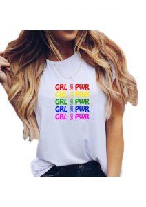 Grl Pwr Rainbow White Tshirt Sm
