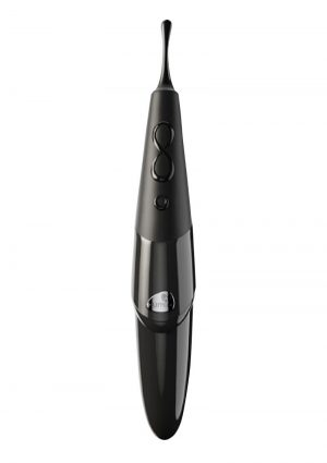 Zumio E - Elliptical Rotation Metal Stem Spiro Tip Rechargeable Clitoral Stimulator - Black