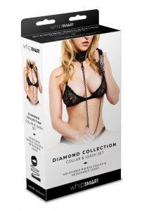 Whip Smart Diamond Collar And Leash Blk