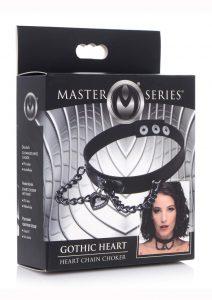 Master Series Silicone Gothic Heart Chain Choker - Black
