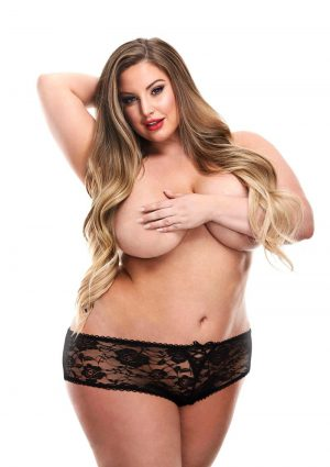 Secrets Low Rise Lace Panty And Love Egg Rechargeable With Remote Control - Plus Size - Black