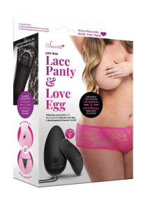 Secrets Low Rise Lace Panty And Love Egg Rechargeable With Remote Control - Plus Size - Hot Pink