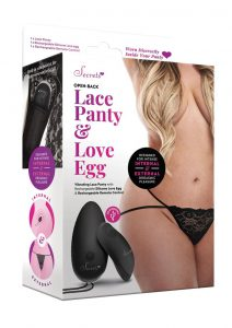 Secrets Open Back Lace Panty And Love Egg Rechargeable With Remote Control - Plus Size - Black