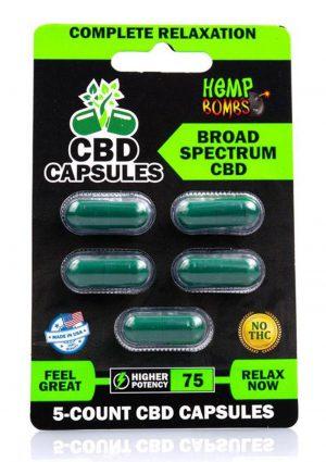 Hemp Bombs Capsules 75mg Potency 5ct Per Blister Card