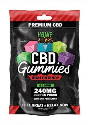 Hemp Bombs CBD Gummies High Potency Assorted Flavors 240mg Potency 8ct Per Bag