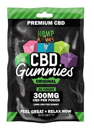 Hemp Bombs CBD Gummies Original Assorted Flavors 300mg Potency 20ct Per Bag