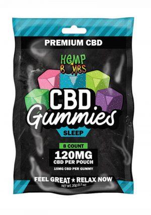 Hemp Bombs CBD Gummies Sleep Assorted Flavors 120mg Potency 8ct Per Bag