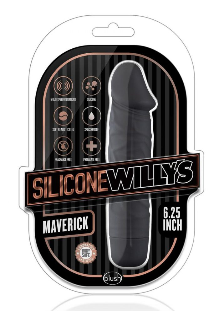 SIlicone Willy`s Maverick Vibrating Dildo 6.25in - Black
