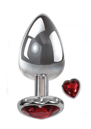 Adam andamp; Eve Heart Gem Anal Plug Small - Silver/Red