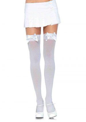 Leg Avenue Nylon Thigh High With Bow - Plus Size - White