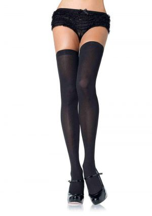 Leg Avenue Nylon Thigh High - O/S - Black