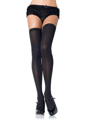Leg Avenue Nylon Thigh High - Plus Size - Black