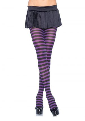 Leg Avenue Striped Tights - Plus Size - Black/Purple