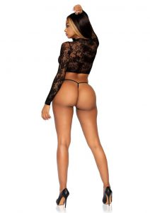Leg Avenue Lace Keyhole Crop Top And G-String (2 Piece) - O/S - Black