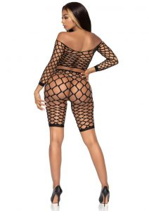 Leg Avenue Pothole Net Crop Top And Bike Shorts (2 Piece) - O/S - Black