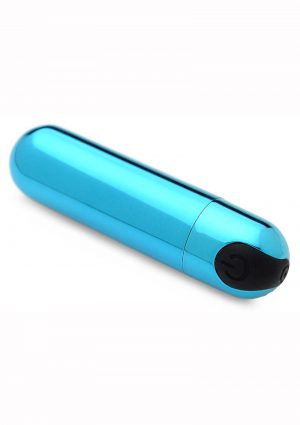 Bang 10X Vibrating Metallic Silicone Rechargeable Bullet Vibrator - Blue