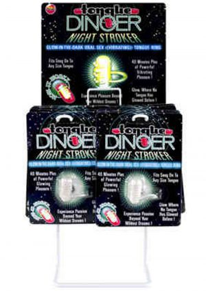 Tongue Dinger Night Stroker Vibrating Silicone Tongue Ring Glow In The Dark 12 Per Display