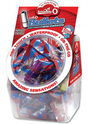 Screaming O Bullets Waterproof Assorted Colors 40 Each In Candy Bowl Display