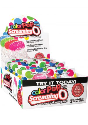Color Pop Quickie Screaming O Vibrating Ring Silicone Cockring Assorted Color 24 Each Per Display
