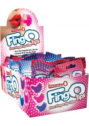 Fing O Tips Silicone Finger Massagers Assorted Colors 18 Each Per Counter Display