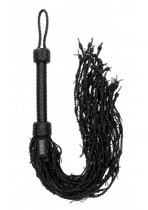 Ouch! Pain Leather Barbed Wire Flogger - Black