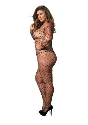 Leg Avenue Fence Net Off The Shoulder Long Sleeved Bodystocking - Plus Size - Black