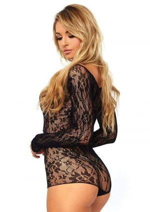 Leg Avenue Seamless Lace Romper With Lace Up Front - O/S - Black
