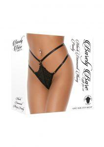 Barely Bare Black Diamond Thong Panty - O/S - Black