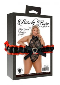 Barely Bare High Neck Backless Teddy - Plus Size - Black
