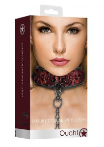 Ouch! Luxury Collar With Leash - Burgundy