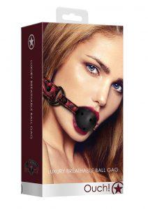 Ouch! Luxury Breathable Luxury Ball Gag - Burgundy