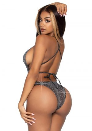 Leg Avenue Shimmer Sheer Lurex Rhinestone Bodysuit With Thong Back And Convertible Wrap-Around Straps - O/S - Black/Silver