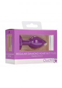 Ouch! Diamond Heart Butt Plug - Regular - Purple