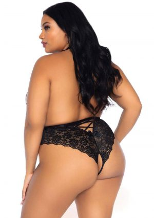 Leg Avenue High Neck Floral Lace Backless Teddy With Lace Up Accents And Crotchless Thong Panty - 1X-2X - Black