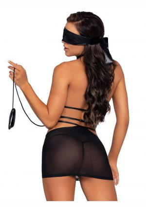 Leg Avenue Cage Strap O-Ring Harness Mini Dress With Attached Leash And Matching Eye Mask (2 Piece) - O/S - Black
