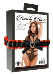 Barely Bare Mesh Teddy With Lace Adornments - O/S - Black