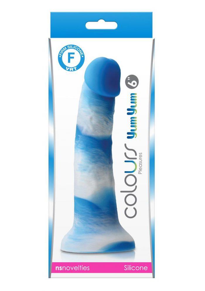 Colours Pleasures Yum Yum Silicone Dildo 6in - Blue