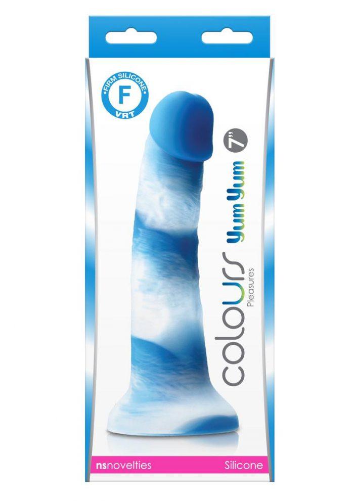 Colours Pleasures Yum Yum Silicone Dildo 7in - Blue