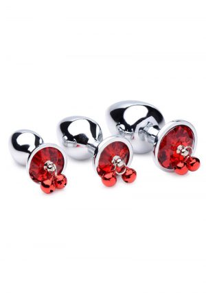 Booty Sparks Red Gem With Bells Anal Plug Set (3 Pieces) - Red
