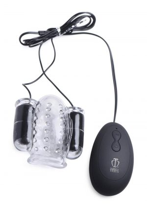 Trinity 4 Men Twin Bullet Penis Head Teaser With Remote Control - Clear