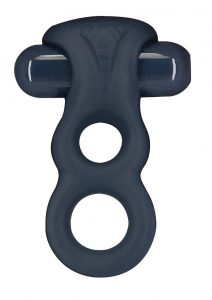 Lux Active Triad Silicone Rechargeable Vibrating Dual Cock Ring With Remote Control - Navy