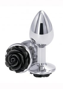 Rear Assets Rose Aluminum Anal Plug - Small - Black/Silver
