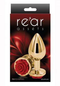 Rear Assets Rose Aluminum Anal Plug - Medium - Red/Gold
