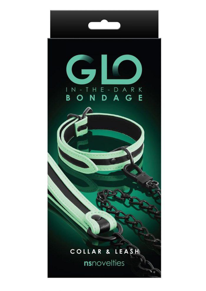 GLO Bondage Glow In The Dark Collar And Leash - Green