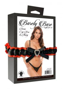 Barely Bare Demi Cup and Cheekless Panty 2pc - Plus Size - Black