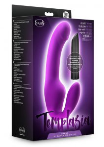 Temptasia Cyrus Strapless Silicone Dildo With Rechargeable Bullet - Purple