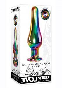 Rainbow Metal Anal Plug - Large