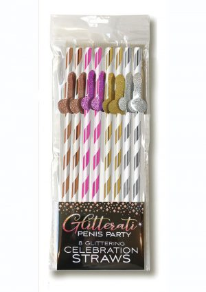 Glitterati Penis Party Tall Celebration Straws (8 Pack) - Assorted Colors