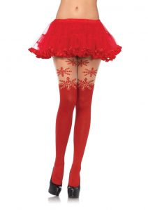 Leg Avenue Spandex Snowflake Opaque Pantyhose With Sheer Thigh Accent - O/S - Red