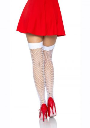 Leg Avenue Industrial Net Thigh High - O/S - White/Red